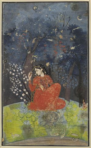 Utka_Nayika._A_lady_awaits_her_lover_in_the_forest._1775-1780._Kangra, _British_Museum, _London